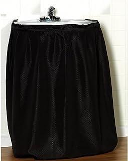 (140cm by 80cm , Black) - Carnation Home Fashions SSD-L/16 Lauren 56 in. x 32 in. Dobby Fabric Sink Drape - Black