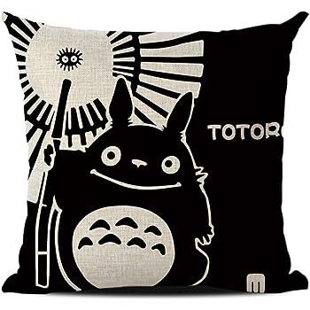 JOTOM Funda de cojín de Lino del algodón,Funda de Almohada Decorativa para sofá Cuadrado 45 x 45 cm (Totoro 1): Amazon.es: Hogar