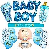 Revelación de Género,Baby Shower Chico,Baby Shower Globos Azules,Globo Papel Aluminio,Globo Confeti Azul,Baby Shower Decoración Niño,Accessorios Baby Shower Niño,It's a Boy