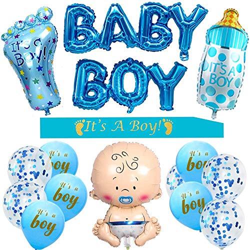 HIQE-FL Baby Boy Folienballon,Geschlecht Offenbaren Party,Baby Shower Dekoratione Jungen,Baby Folienballon Junge(Blau)