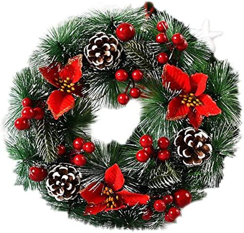 CAETNY Ghirlanda di Natale KJGHJ Ghirlanda di Natale Decorazione per Porta Ghirlanda per Porta Autunnale Decorazione Floreale Fatta a Mano per Babbo Natale Decorazioni di Buon Natale per la