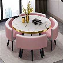 Simple Furniture - Q negotiate 5-Piece Modern Round Vintage Home Table Chair Combination Easy Reception Leisure Leather Co...