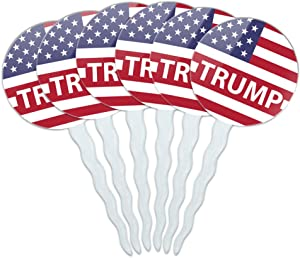 GRAPHICS & MORE President Trump American Flag Cupcake Picks Toppers Decoration Set of 6