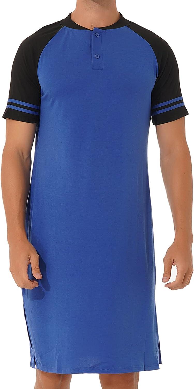WinChang Sleepwear Men's Nightshirt Short Sleeve Side Slit Color Block Pajamas Top Nightgowns