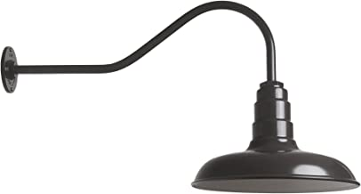The Classic | Gas Station Steel Shade | 14 Inch Shade and 23 Inch Gooseneck (Dark Bronze)