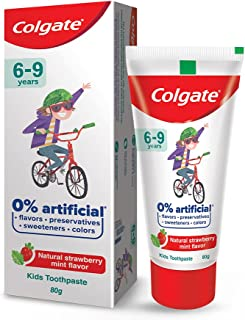Colgate Toothpaste for Kids (6-9 years), Natural Strawberry Mint Flavour, 0% Artificial- 80g Tube