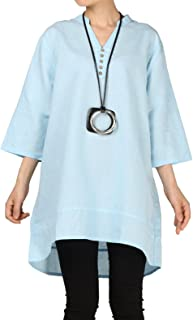 Mordenmiss Women's Cotton Linen Blouse V-Neck Tunic Tops 3/4 Sleeve Shirt Clothing