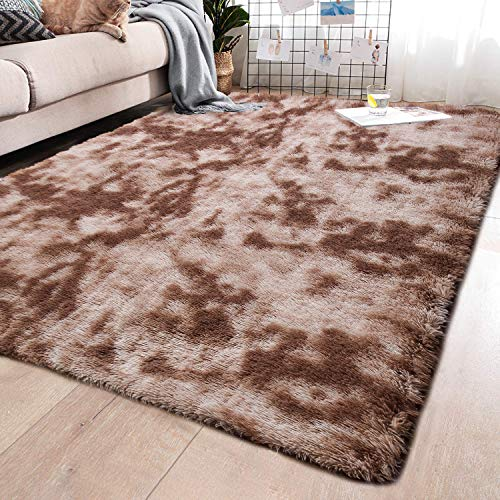 YJ.GWL Fluffy Area Rugs for Bedroom Living Room Shaggy Abstract Nursery Carpets for Girls Kids Teen's Room Fuzzy Floor Carpets Home Decor Rugs 5 x 8 Feet Coffee