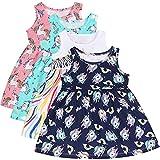 L&K-II Paquete de 4 Bebé Niños Niñas Vestido Sin Mangas Vestido de Verano Vestido sin Mangas Modelo Delgado Algodón Dulce patrón 1-8 años 5201 5202 5203 5211 86-92