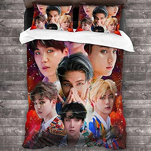 Bangtan Boys Juego de ropa de cama BTS, adecuado para todas las estaciones, regalo para niños, cremallera oculta, juego de 3 piezas (BTS-2, 140 x 210 cm + 80 x 80 cm x 2)