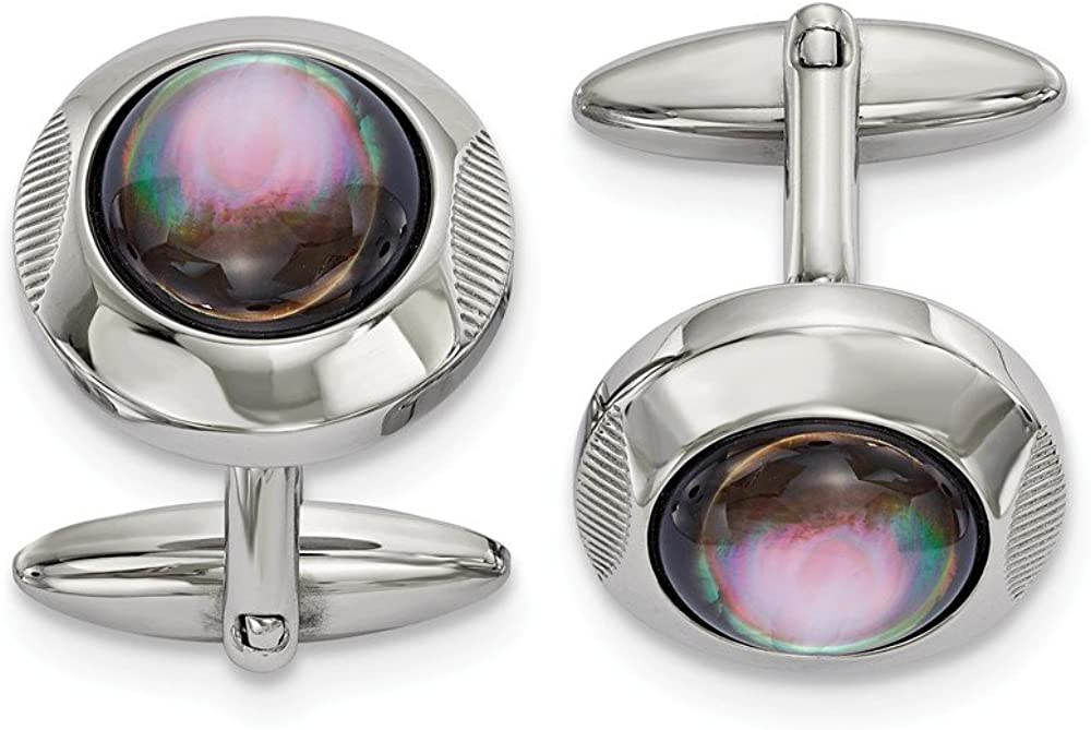 Solid Stainless Steel Men's Round Mother of Pearl Cufflinks - 26mm x 19mm