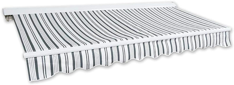 Jawoll Kassetten-Markise 2,0 x 1,5 m Grau-Wei (Profilfarbe  Wei) Sonnenschutz Alu Markise Schattenspender Sonnensegel Hülsenmarkise Gelenkarm-Markise Halbkassette