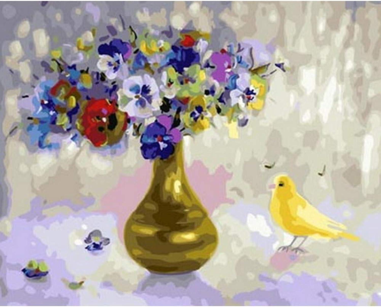 Felices compras UnFrame Picture pintura al óleo by números números números decoración de parojo pintura DIY sobre lienzo para decoración de interiores flor con pájaro 40x50cm Enmarcado  tienda en linea