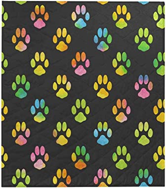 InterestPrint Dog Paw Print Bone Comforter Thin Quilt Lightweight Comforter Twin