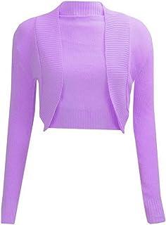 Janisramone Womens Ladies New Knitted Plain Long Sleeve Cropped Bolero Shrug Open Front Cardigan Top