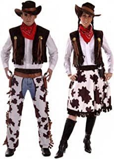 Couples Mens & Ladies Cowboy & Cowgirl Wild West Western Halloween Fancy Dress Costumes Outfits