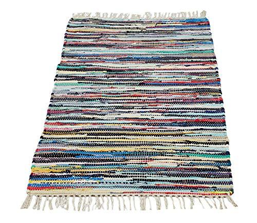andiamo Bunter Flickenteppich aus Baumwolle, pflegeleichter Fleckerlteppich, handgewebt, robust, Größe:90 x 160 cm