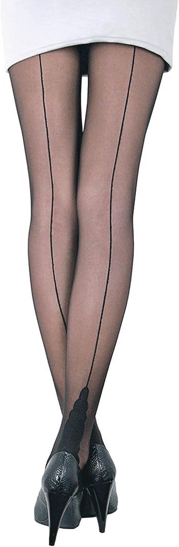 Conte Women's Black Sheer Back Seam Pantyhose Tights with Decorative Heel - Stella