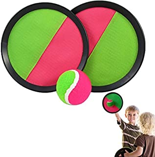 Catch Ball Set - Self Stick Toss and Catch Sports Family Game with 2 Paddles and Velcro Ball for Ages 3 and Up | Kids Paddle Ballgame with Catch Mitt and Velcro Activity Ball for Outdoors