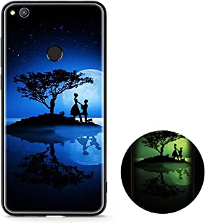Case Huawei Honor 9 Lite, Huawei Honor 9 Lite Black Shell, MAOOY Luxury Luminous Pattern Cover with Hard Tempered Glass Back + Soft Silicone Edge Protective for Huawei Honor 9 Lite, Love Tree