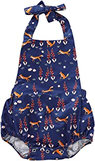 Fairy Baby Baby Girls Outfits Fox Print Halter Backless Jumpsuit Romper Bodysuit Sunsuit