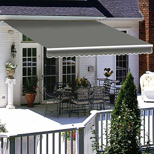 Greenbay Grey DIY Manual Patio Awning, Retractable Gazebo Outdoor Canopy, Garden Sun Shade - 2.5m x 2m