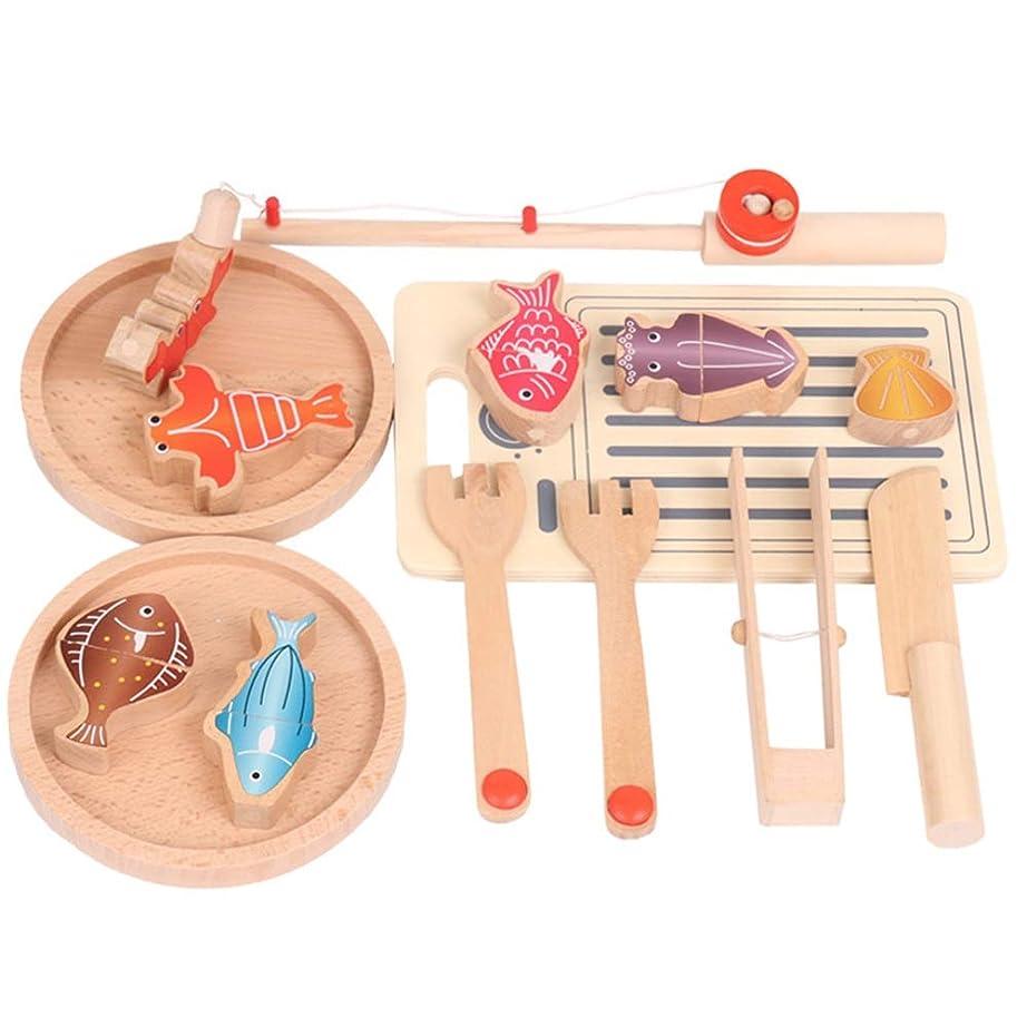 高音ラオス人線形キッチン?食べ物 子供たちは食品セット、子供用玩具木製カッティング釣り果物野菜男の子と女の子キッチンおもちゃをふり 野菜果物おままごと おもちゃ (色 : Multi-colored, Size : One size)