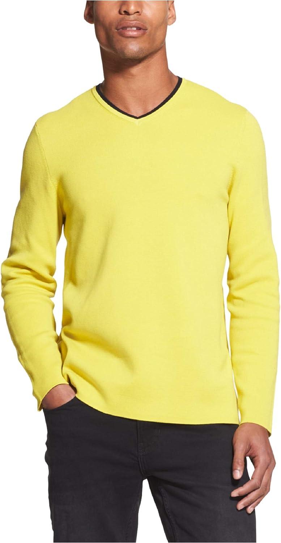 DKNY Mens V-Neck Pullover Sweater, Yellow, Medium