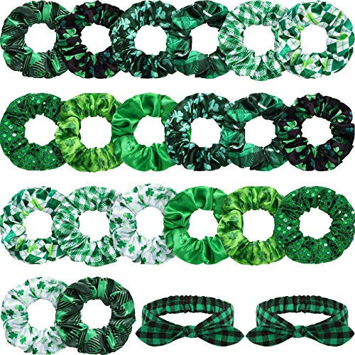20 Pieces Summer Hair Scrunchies Green Clover Print Hair Ties and 2 Pieces Green Lattice Headband Soft Elastic Hair Bands Ponytail Holder St. Patrick's Day Hair Accessories for Women Girl