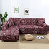 Jian Ya NA Stretch Sofabezüge Polyester Spandex Stoff Slipcover 2ST Polyester-Gewebe Stretch Slipcovers + 2pcs Kissenbezüge für Sectional Sofa L-Form-Couch Rot (Chino Style)