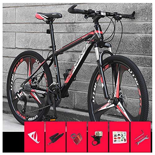 COSCANA Bicicletas De Montaña De 26 Pulgadas, MTB De Suspensión Delantera De 21-27 Velocidades, Bicicleta De Montaña con Marco De Acero De Alto Carbono con Freno De Disco DobleRed-21 Speed