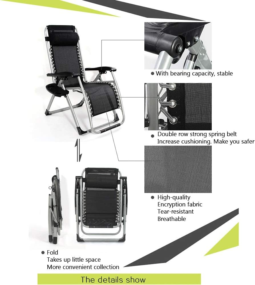 CAIJUN Fauteuil Inclinable De Grande Taille, Pliable Bureau Renforcé Chaise Longue pour Salon Balcon Utilisation À La Maison pour Adulte, 2 Styles (Color : B) A