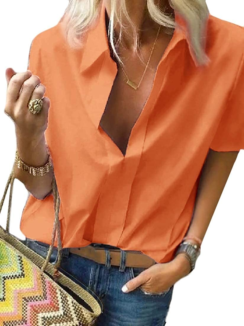Frieed Women Solid Color Loose Print Long Sleeve V-Neck Plus Size Shirt Blouse Top