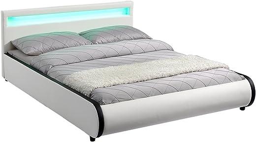 ArtLife Polsterbett Sevilla 140 x 200 cm – Bettgestell mit LED Beleuchtung & Lattenrost – Holz & Kunstleder – weiß – Jugendbett Gästebett