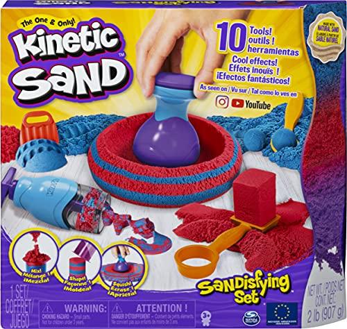 Kinetic Sand, Caja Sandisfying con 907 g de Arena y 10 Herramientas para niños...