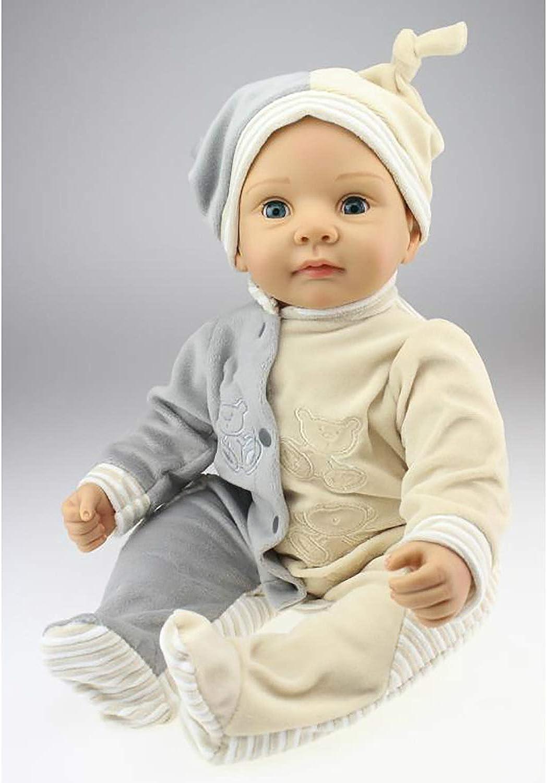 LBHE Reborn Babypuppe Weiche Silikon Vinyl 22 Zoll Schne Lebensechte Niedlichen Jungen Mode Kleidung Puppe 55 cm, Kind Spielen Spielzeug Weihnachten Geburtstagsgeschenk