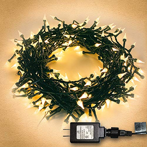 Twinkle Star Outdoor String Lights Christmas Lights 200 LED 66ft Mini Green Wire Fairy Lights with 8 Lighting Modes, Christmas Tree Garden Wreath Party Wedding Indoor Decorations, Warm White