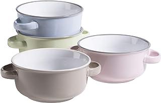 MÄSER 931611 Serie Maila Buntes Suppentassen Set für 4 Personen aus Keramik im Emaille Look, Suppenschüsseln mit Henkel in Vintage Design, Steinzeug