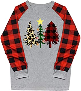 MOHOLL Long Sleeve Plaid Christmas Shirts for Women Merry and Bright Shirt Letter Print Christmas Graphic Tee Shirts Tops