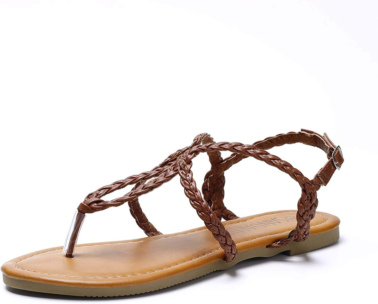 Sandalup Women's Braided Strap Thong Flat Sandals
