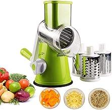 DierCosy 1 Set Manuel Rates-Fromage Rotatif, trancheuse de Mandoline de légumes avec 3 Couteaux rotatifs en Acier Inoxydab...