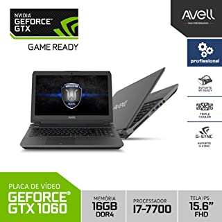 Notebook Profissional Avell Titanium W1545 Iron V4 Intel Core i7 16GB (GeForce GTX 1060) 1TB SSHD 15.6 FHD