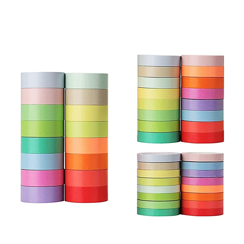Molshine 48Rolls(5.5yd/roll)Macarons Washi Masking Tape,Adhesive-16 basic color Bright Surface for DIY,Decorative,Planners,Scrapbooking,Object Beautification,Party,Gift Wrapping(width:0.3,0.4,0.6inch)