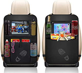 AVNICUD Car Backseat Organizer,Waterproof Car Back Seat Organizer for Kids, 2 Pack Car Seat Back Protector Kick Mats with Clear Tablet Holder and 5 Storage Pockets, Car Travel Accessories