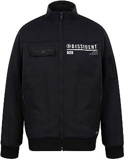Dissident Mens Bass Grey Black Borg Fleece Lined Zip Up Sweatshirt Jacket Top