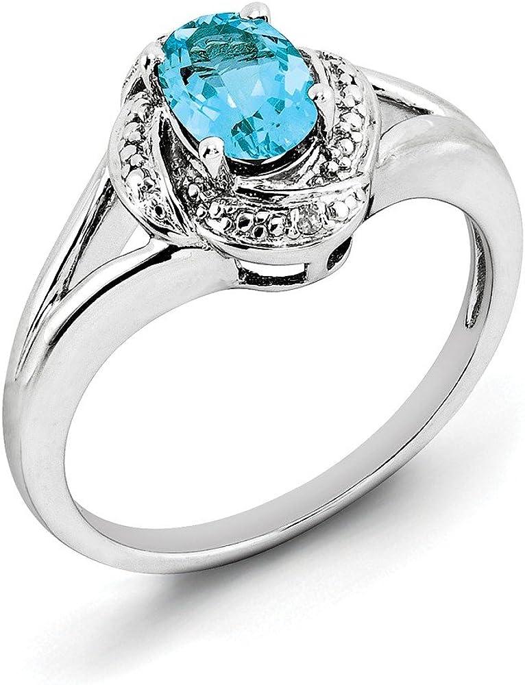 Solid Award .925 Sterling Silver Rhodium-Plated Rin Blue Topaz Diam. Omaha Mall