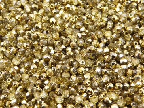 100pc Czech Perle Sfaccettato vetro, Fire-Polished Beads,Rotondo 3mm Crystal Amber