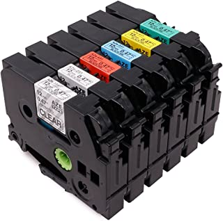 6 Pack Compatible with Brother P-Touch TZ TZe 131 231 431 531 631 731 Label Tape for PT-D210 PT-H100 PTD400AD PT-1230PC Labeler, 12mm (1/2 Inch) x 8m (26.2 Feet)