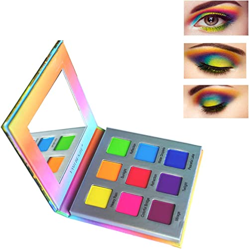 Highly Pigmented Eyeshadow Palette,YMH BEAUTE 9 Color Bright Eye Makeup Palette Colorful Matte Eye Shadow Palettes Lo...