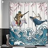Lustiger Duschvorhang für Bauernhaus-Badezimmer, coole Cowboy-Katze reitet Walpferd auf rustikalem grauem Holz, blaugrün, Ozeanwellen, rosa Blume, Kirschblüte, asiatischer Anime-Duschvorhang, 180 x cm